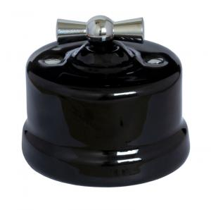 Switch - Black porcelain surface mounted chrome knob