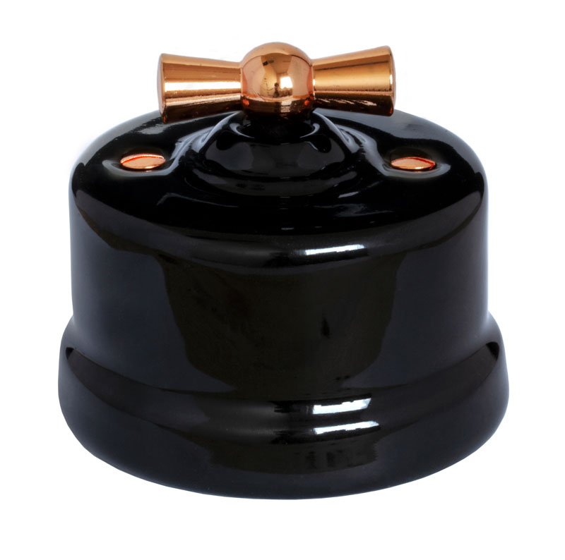 Switch - Black porcelain surface mounted copper knob