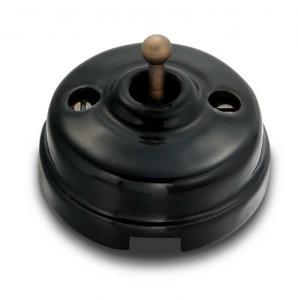 Retro Strömbrytare - Svart porslin/antik brons (trappströmbrytare)