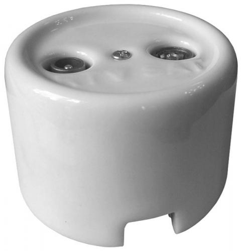TV/SAT Socket - White porcelain surface mounted