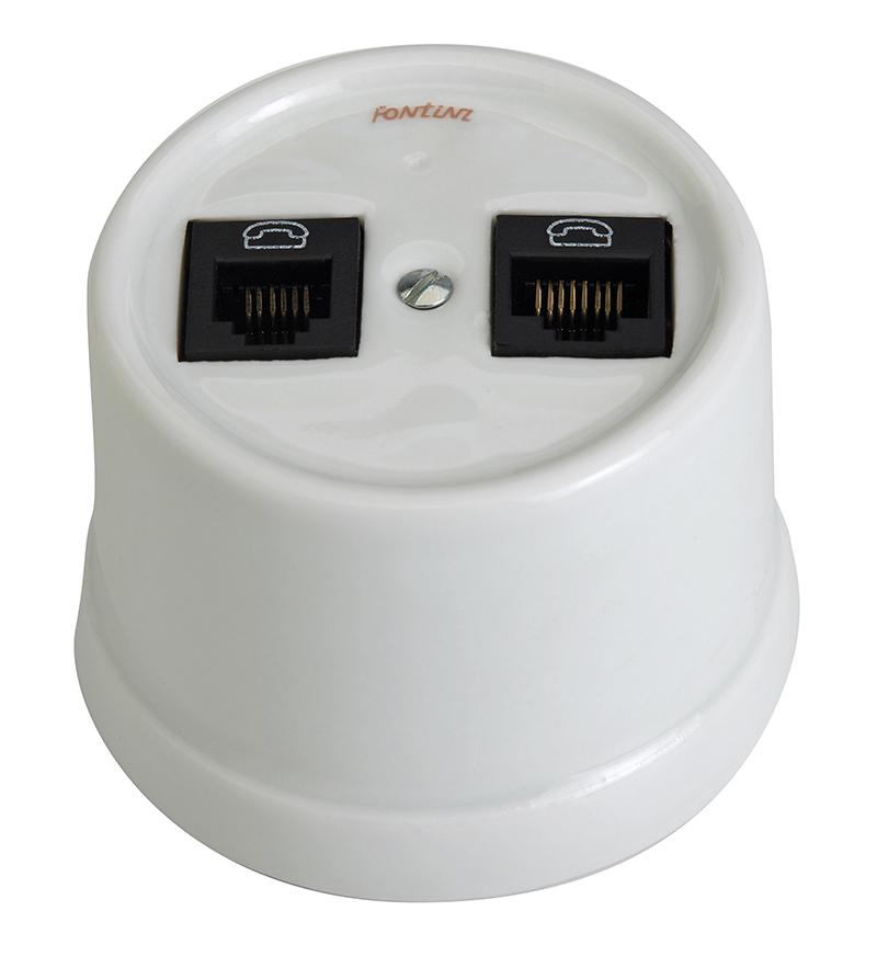 Double RJ45 Socket - White porcelain surface mounting