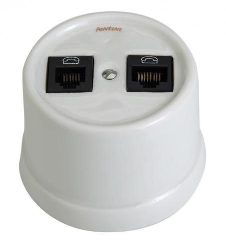 Double RJ45 Socket - White porcelain surface mounting