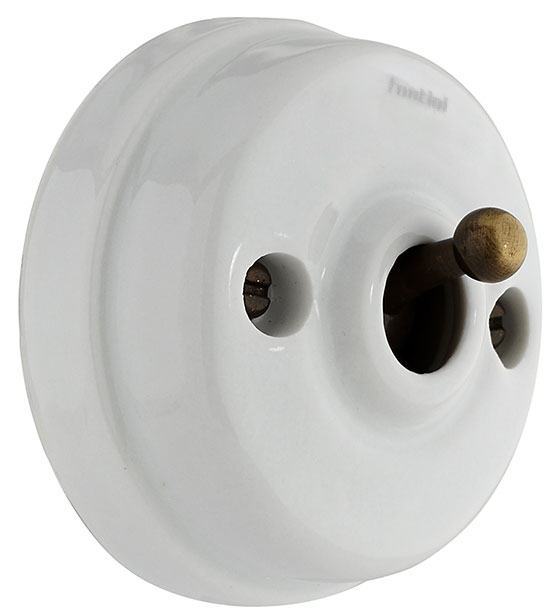 Toggle Switch - Porcelain/bronze, surface mounted