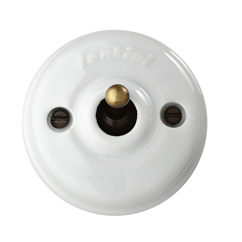 Fontini Crossing switch - White porcelain surface mounted - old style - classic interior - old fashioned style