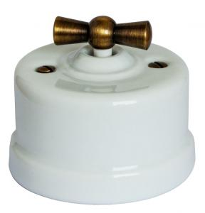 Switch - White porcelain surface mounted antique knob