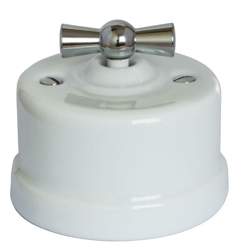 Old style switch white porcelain chromed knob