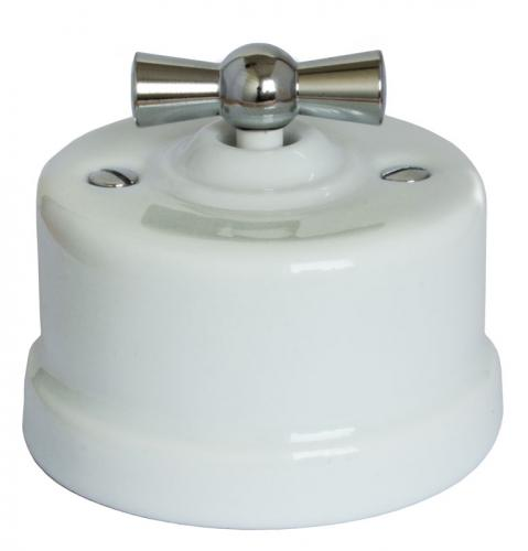 Switch - White porcelain surface mounted chrome knob