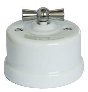 Old style switch white porcelain chromed knob