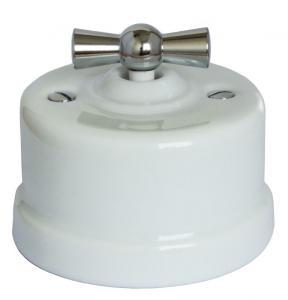 Gammaldags utanpåliggande strömbrytare - Vit porslin kromred