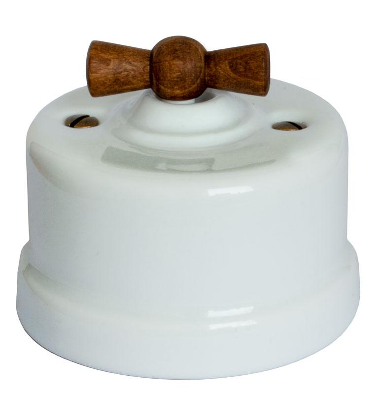 Switch - White porcelain surface mounted wood knob