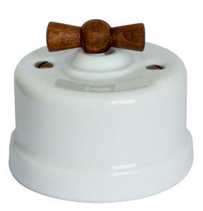 Gammaldags utanpåliggande strömbrytare - Vit porslin trävred