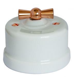 Strømbryter - Hvit porselen (Trappe/Ut/ Vri) kobber vred