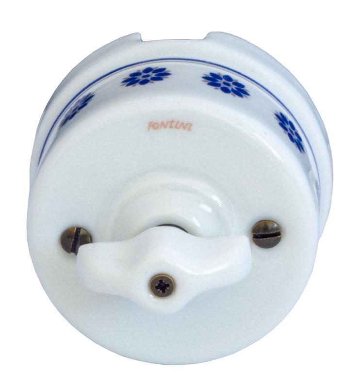 Strömbrytare - Vit porslin med blå dekor (Trapp/Ut/Vrid) - gammaldags inredning - klassisk stil - retro -sekelskifte