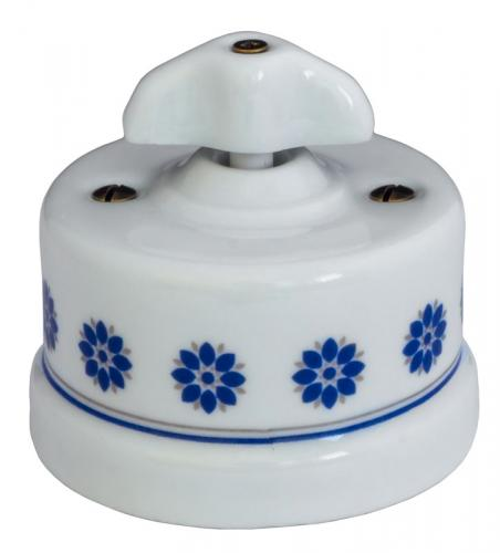Dimmer - White porcelain surface mounted blue decor