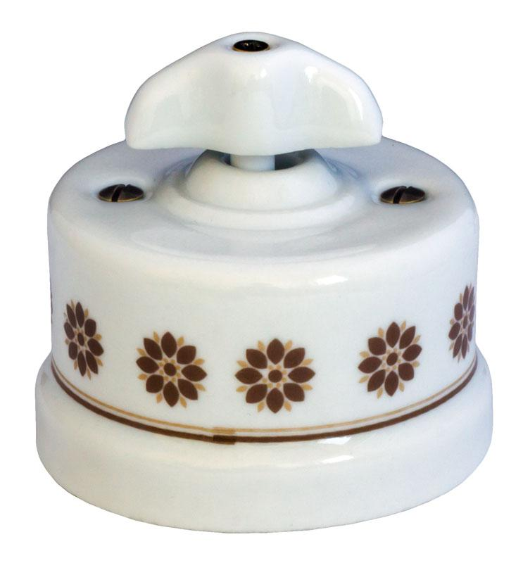 Switch - White porcelain surface mounted brown decor