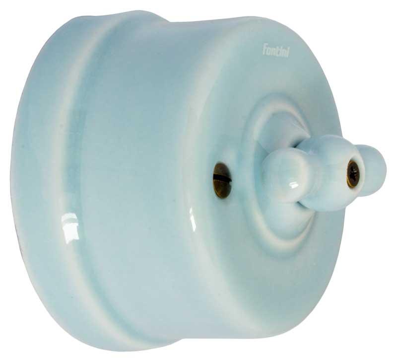 Strømbryter - Blå porselen (trapp/ut/vri)