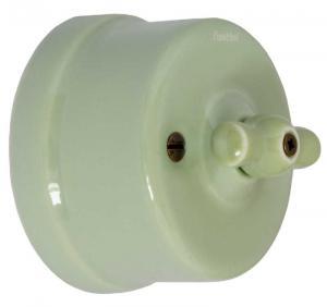 Strømbryter - Grønn porselen (trapp/ut/vri)