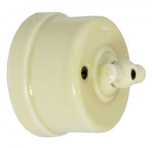 Strømbryter - Gulhvit porselen (trapp/ut/vri)