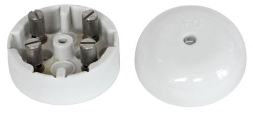 Connection Box - White porcelain 55 mm round - old style - classic interior - old fashioned style - vintage interior