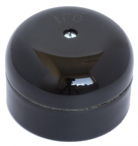 Round connection box in black porcelain - old style - vintage style - classic interior - retro