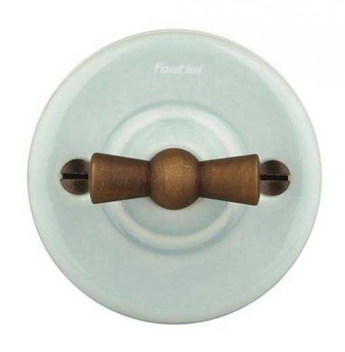 Switch - Light blue porcelain surface mounted bronzed knob