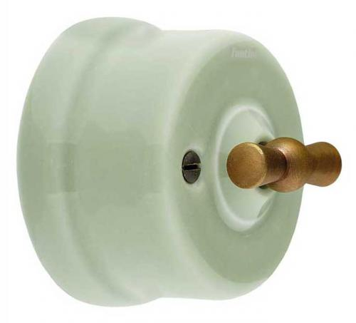 Switch - Light green porcelain surface mounted bronzed knob