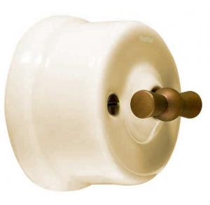 Switch - Off-white porcelain surface mounted bronzed knob