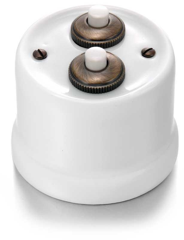 Dimmer - Double push-button white porcelain/brons