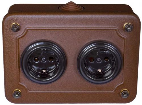 Metal box with double outlets - black porcelain - old style - vintage style - classic interior - retro