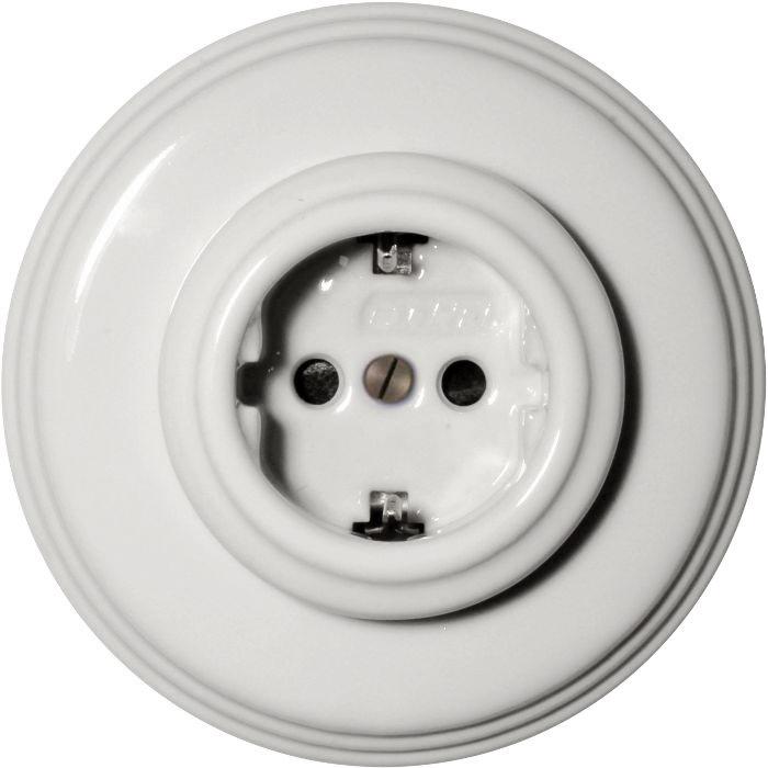 El-uttak - Hvit porselen 1-elements Fontini