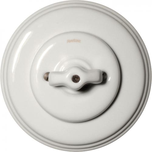 Dimmer Fontini - White porcelain double rotary switch