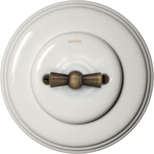 Fontini rotary switch - White porcelain antique knob