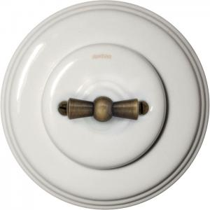 Old style Two-way switch in white porcelain with antique bronze knob