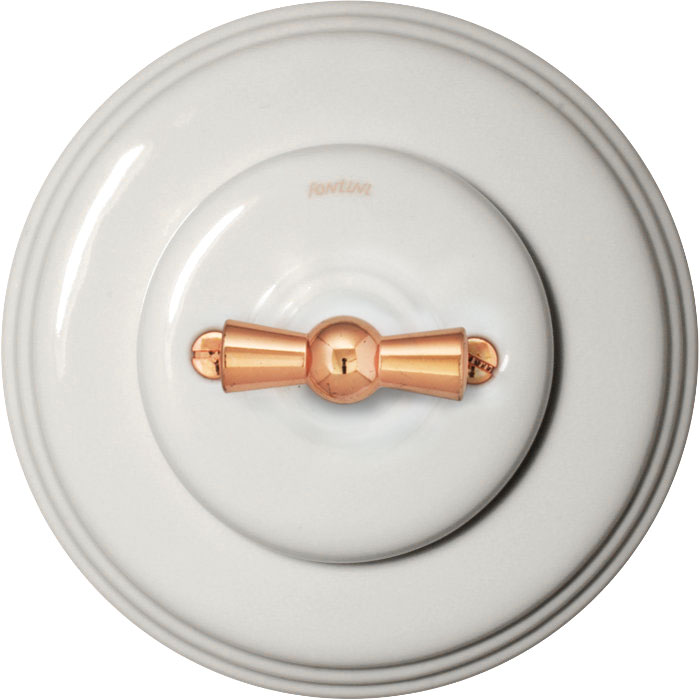 Fontini rotary switch - White porcelain copper knob