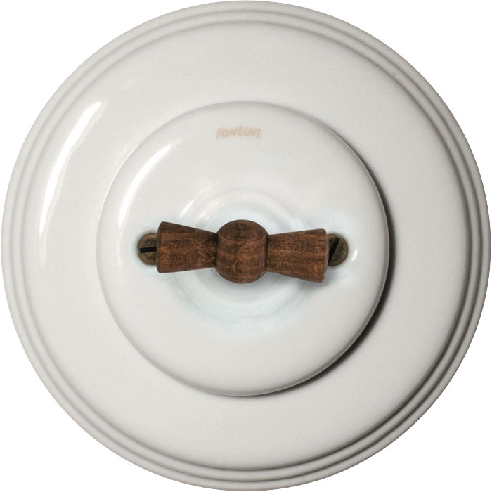 Fontini rotary switch - White porcelain wood knob