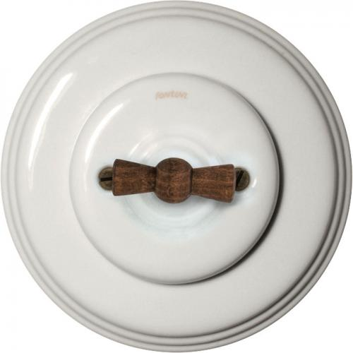 Two-way switch in white porcelain with wood knob