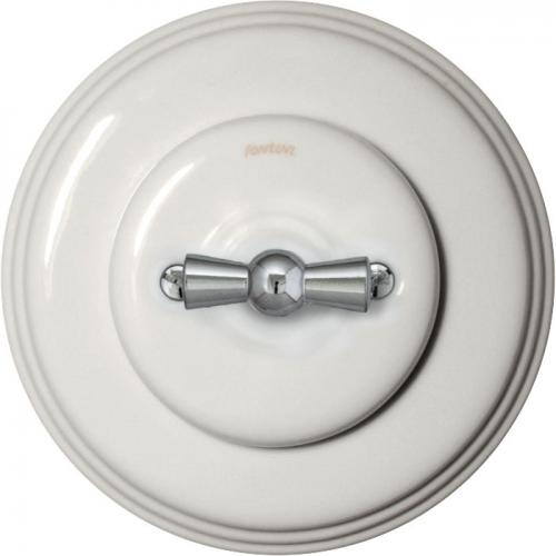 Two-way switch in white porcelain with chrome knob