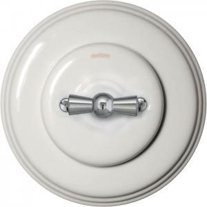 Fontini rotary switch - White porcelain chrome knob