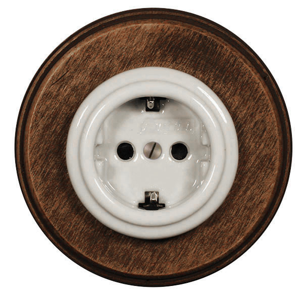 Electrical Outlet - porcelain with old wood frame