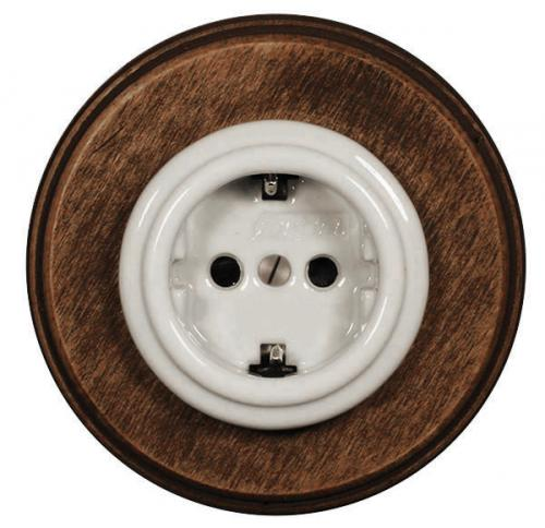 Electrical outlet  - White porcelain with old wood frame