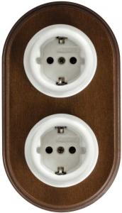 Electrical Outlet - Double porcelain with old wood frame
