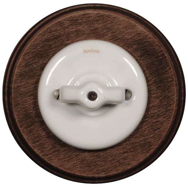 Fontini rotary switch - White porcelain with old wood frame