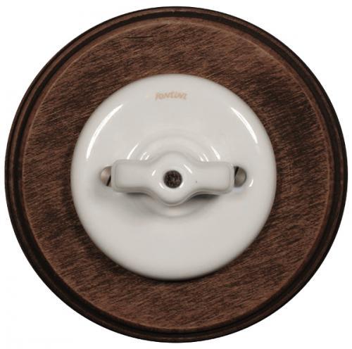 Strömbrytare - Trappströmbrytare (vrid) vit porslin med mörkbrun träram
