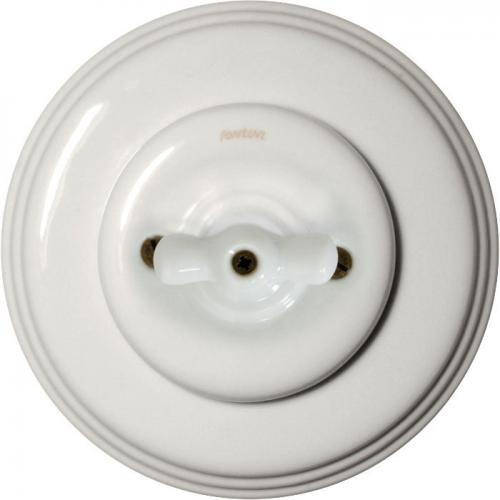 Old style rotary switch - White porcelain white knob