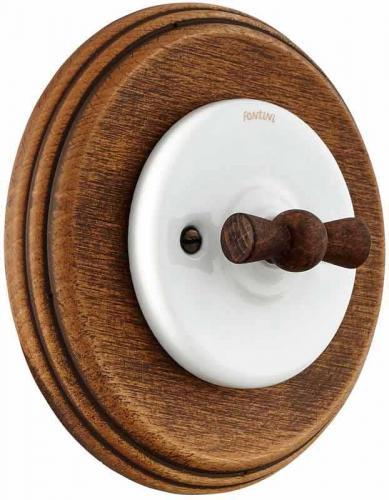 Strömbrytare - Trappströmbrytare (vrid) vit porslin med trävred och träram