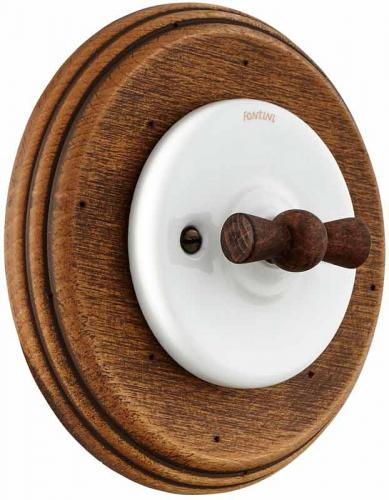 Old style rotary switch - White porcelain wood frame and wood knob