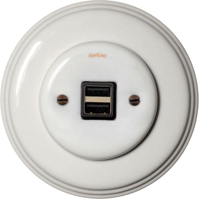 USB socket - White porcelain, Garby Colonial