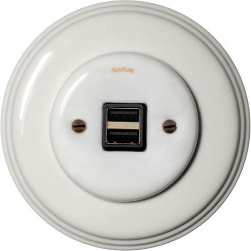 USB socket - White porcelain, Garby Colonial