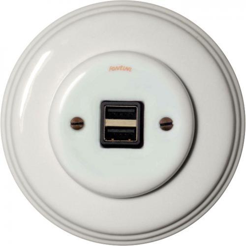 USB-uttag - Vit porslin, Garby Colonial