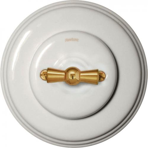 Fontini rotary switch - White porcelain brass knob